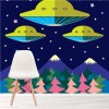 Spaceships Flying Over Mountains UFO Wall Mural Kids Cartoon Photo Wallpaper