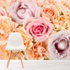 Pink & Peach Roses Bouquet Of Flowers Nature Wall Mural Floral Photo Wallpaper