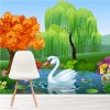 Swan In Country Park Lake Colourful kids Wall Mural Cartoon Photo Wallpaper