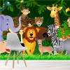 African Jungle Characters Wild Animal Cartoon Wall Mural kids Photo Wallpaper