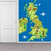 Map Of The United Kingdom Educational Kids Wall Mural Cartoon Photo Wallpaper