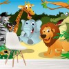 Jungle Group Lion Elephant Zebra Animals Wall Mural Kids Cartoon Photo Wallpaper