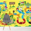 Map Of City Colourful Adventure Cartoon Wall Mural kids Photo Wallpaper