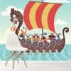 Viking Warship & Soldiers Cartoon Historical Wall Mural kids Photo Wallpaper