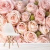 Beautiful Rose Flowers Pink Background Floral Wall Mural Nature Photo Wallpaper