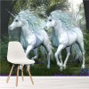 Two White Unicorns In Magical Forest Fairytale Wall Mural kids Photo Wallpaper