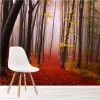 Winter Woods, Misty Trees & Red Path Enchanted Forest Wall Mural Photo Wallpaper