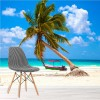 Palm Tree On White Sand & Blue Sea Tropical Beach Wall Mural Photo Wallpaper
