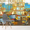 Construction Site Digger, Lorry, Crane Transport Wall Mural Kids Photo Wallpaper