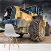 Yellow Construction Tractor Industry Machine Wall Mural Building Photo Wallpaper