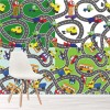 Roads, Cars, Lorry & Bus Fun Design Cartoon Map Wall Mural Kids Photo Wallpaper