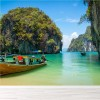 Long Boat Sails By Tropical Island Thailand Ocean Wall Mural Photo Wallpaper