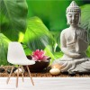 Buddha Statue with Candle & Flowers Tranquil Wall Mural Religion Photo Wallpaper