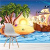 Pirate Ship & Treasure Island Cartoon Pirate Wall Mural kids Photo Wallpaper