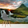 Sunset On Mountain Waterfall Iceland Landscape Wall Mural Nature Photo Wallpaper