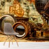 Vintage Compass & Globe Equipment Map Wall Mural Travel Photo Wallpaper
