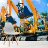 Yellow Excavator Diggers Construction Transport Wall Mural Photo Wallpaper