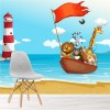 Animals On Boat & Lighthouse Cartoon Animals Wall Mural kids Photo Wallpaper