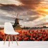 Red Tulips & Windmill Amsterdam Landscape Wall Mural Floral Photo Wallpaper