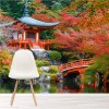 Ancient Japanese Temple Red Floral Trees Wall Mural Religion Photo Wallpaper