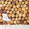 Cork Background Wine Bottles Food & Drink Wall Mural Art Photo Wallpaper