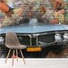 Car Crashes Through Brick Wall Abstract Graffiti Wall Mural Art Photo Wallpaper