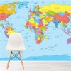 World Map In Colour Educational Maps Wall Mural Travel Photo Wallpaper