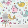 Birds, Flowers & Bird Houses Illustration Floral Wall Mural kids Photo Wallpaper