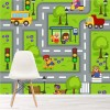 Roads, Animals & Transport Illustration Maps Wall Mural kids Photo Wallpaper