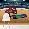 Monster Truck Squashes Cars In Stadium Transport Wall Mural kids Photo Wallpaper