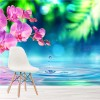 Pink Orchid & Water Droplet On Pond Floral Wall Mural Relaxation Photo Wallpaper