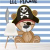 Cute Pirate Bear Blue & White Stripes Nursery Wall Mural kids Photo Wallpaper