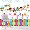 Colourful Owls, Fence & Flowers Cartoon Nursery Wall Mural kids Photo Wallpaper