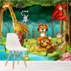 Animals In Jungle, Lion, Tiger, Cartoon Animals Wall Mural kids Photo Wallpaper