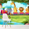 Train with Animals In Jungle Cartoon Animals Wall Mural kids Photo Wallpaper