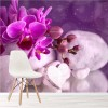 Purple Orchid Flowers & Pebbles Floral Wall Mural Nature Photo Wallpaper
