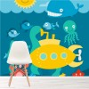 Submarine, Whale & Seahorses Ocean Under The Sea Wall Mural kids Photo Wallpaper