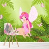 Pink Fairy In Magical Forest Cartoon Fairytale Wall Mural kids Photo Wallpaper