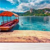 Boat On Beautiful Lake Bled Slovenia Landscape Wall Mural Travel Photo Wallpaper