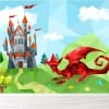 Red Dragon & Castle Fantasy Cartoon Monsters Wall Mural kids Photo Wallpaper