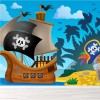 Ship, Parrot & Treasure Chest Cartoon Pirate Wall Mural kids Photo Wallpaper
