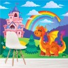 Princess Castle, Dragon & Rainbow Cartoon Fairytale Wall Mural Photo Wallpaper