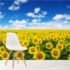 Field Of Yellow Sunflowers Blue Sky Floral Wall Mural Landscape Photo Wallpaper