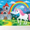 Unicorn, Castle & Rainbow Cartoon Fairytale Wall Mural kids Photo Wallpaper