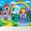 Princess & Castle Cartoon With Rainbow Fairytale Wall Mural kids Photo Wallpaper