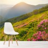 Sun Shines On Pink Flowers In Mountains Landscape Wall Mural Photo Wallpaper