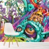 Colourful Abstract Art Urban Graffiti Wall Mural Illustration Photo Wallpaper