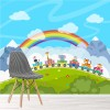Animals On Cartoon Train Clouds, Rainbow Nursery Wall Mural kids Photo Wallpaper