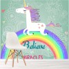 Believe In Miracles Unicorn Over Rainbow Fantasy Wall Mural kids Photo Wallpaper