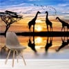 Giraffes & Birds In The Wild At Sunset Animal Wall Mural Nature Photo Wallpaper